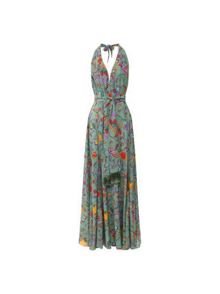 Шелковое платье с бахромой с V-образным вырезом на молнии Lazul