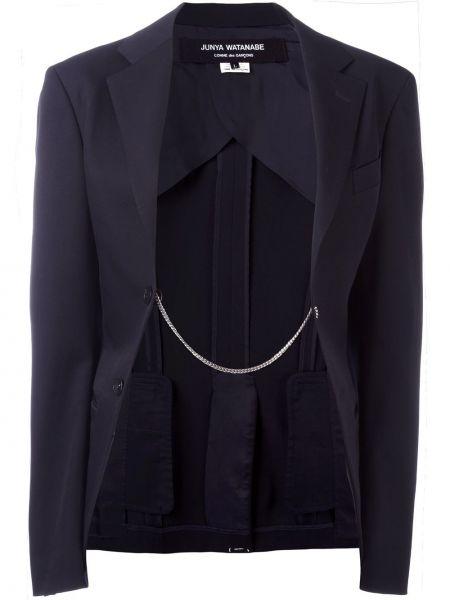 Шерстяной синий удлиненный пиджак с карманами Junya Watanabe Comme Des Garçons Pre-owned