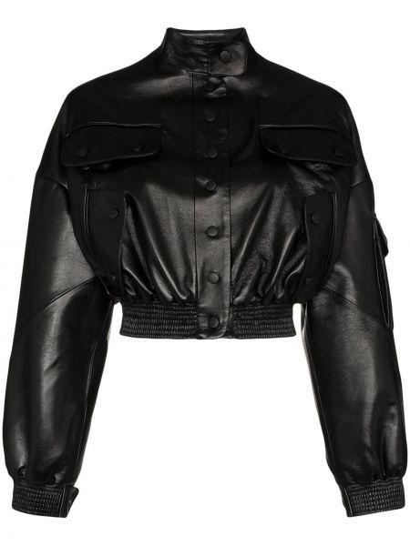 Хлопковая черная кожаная куртка на кнопках с манжетами Matériel