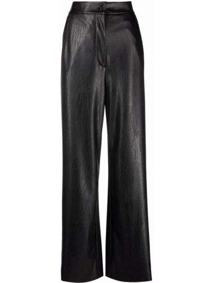 Spodnie z wysokim stanem z eko skóry - czarne Mm6 Maison Margiela