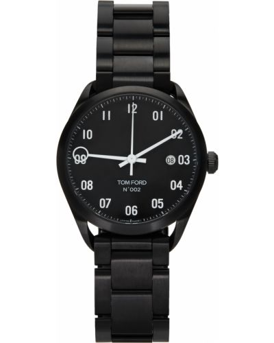 Czarny zegarek srebrny z diamentem Tom Ford