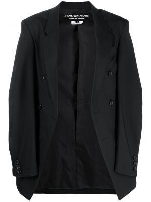 Шерстяной черный удлиненный пиджак двубортный Junya Watanabe