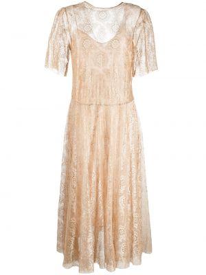 Кружевное с рукавами платье мини с вырезом Forte Forte