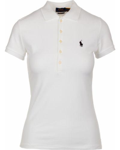 Prążkowany biały t-shirt Ralph Lauren
