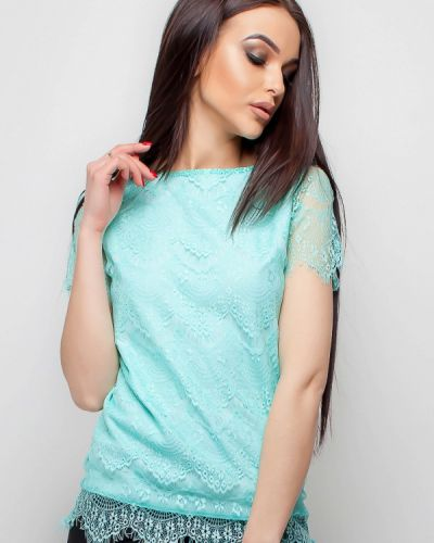Бирюзовая блузка кружевная Karree