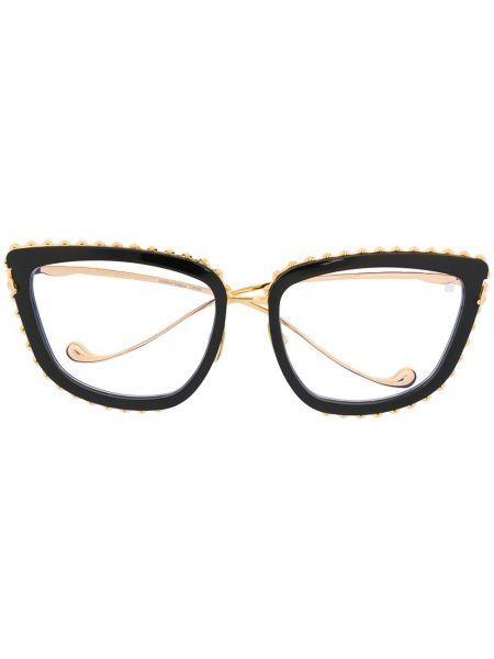Золотистые прямые черные очки кошачий глаз металлические Anna Karin Karlsson