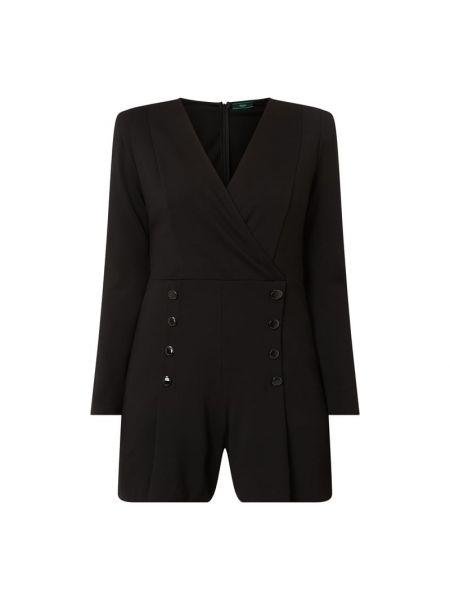 Czarny nylon spodni kombinezon z zamkiem błyskawicznym z dekoltem w szpic Guess