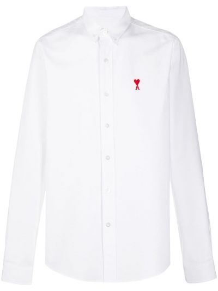 Klasyczna koszula bawełniana z haftem z długimi rękawami Ami