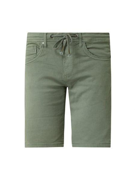 Bawełna zielony dżinsowe szorty z kieszeniami z paskami Pepe Jeans