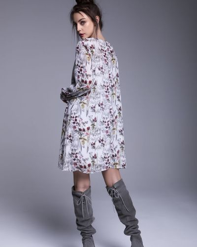 Платье мини с длинными рукавами - белое Naoko