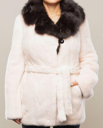 Бежевая куртка вельветовая с воротником Aliance Fur