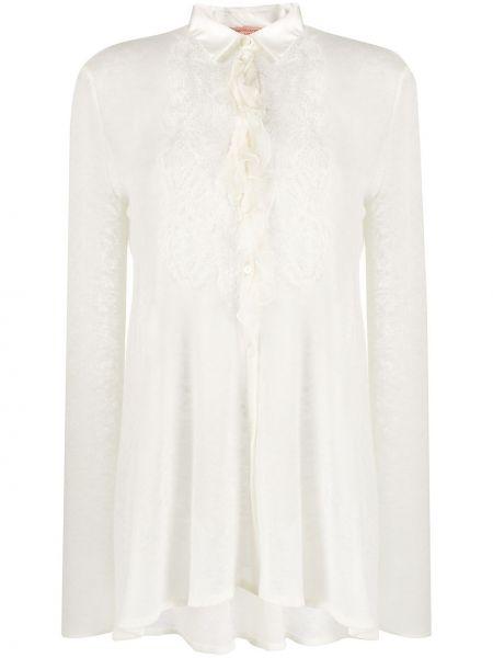 Классическая рубашка с воротником на пуговицах с оборками из альпаки Ermanno Scervino