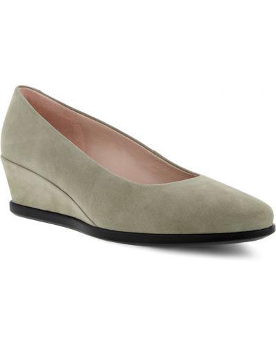 Кожаные туфли на каблуке на платформе Ecco