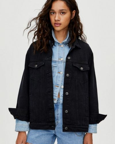 Джинсовая куртка черная осенняя Pull&bear