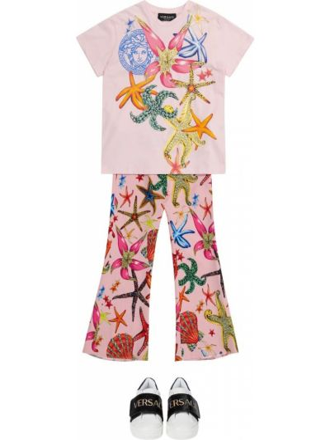 Różowe legginsy z wiskozy z printem Versace Kids