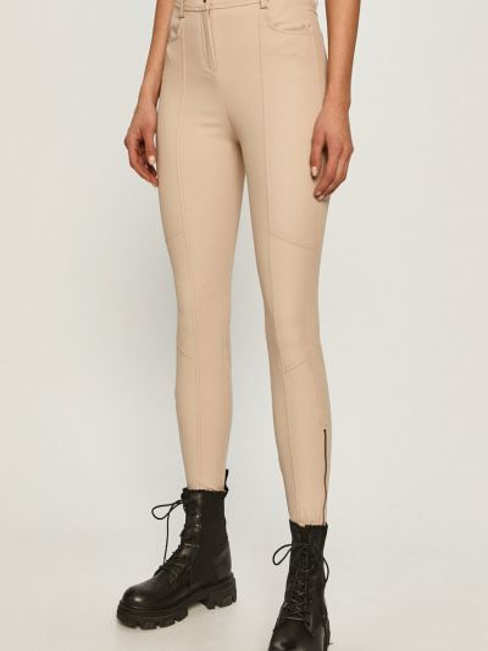 Облегающие бежевые брюки с карманами Max&co