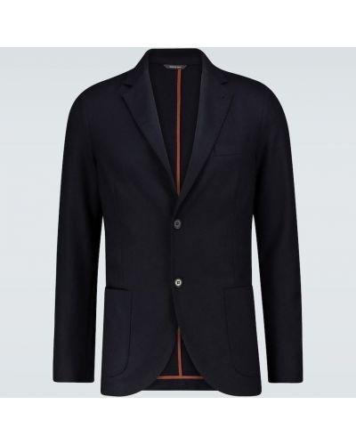 Кожаный темно-синий приталенный пиджак на кнопках Loro Piana