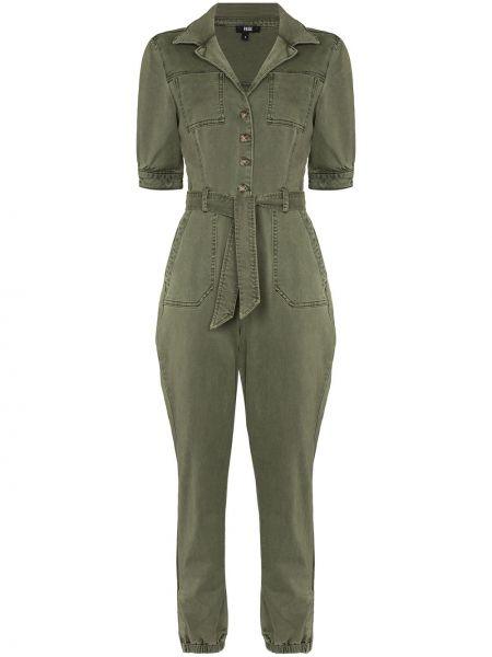 Зеленый хлопковый джинсовый комбинезон с короткими рукавами Paige