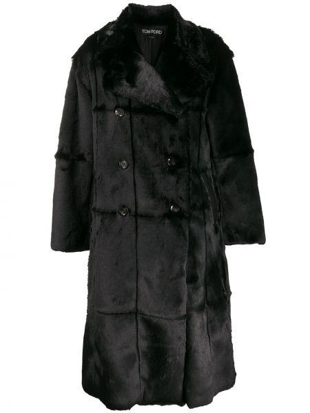 С рукавами черное длинное пальто двубортное Tom Ford