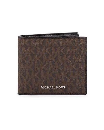 Черный кожаный кошелек с карманами Michael Kors
