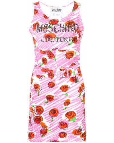 Платье с поясом с цветочным принтом с принтом Moschino