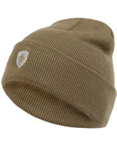 Prążkowana ciepła beżowa czapka Wellensteyn
