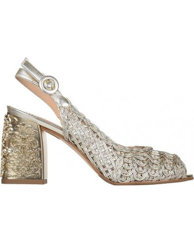 Босоножки на каблуке золотого цвета Marino Fabiani