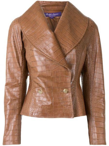 С рукавами коричневая кожаная куртка Ralph Lauren Collection