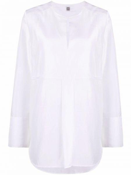 Biała koszula bawełniana z długimi rękawami Toteme
