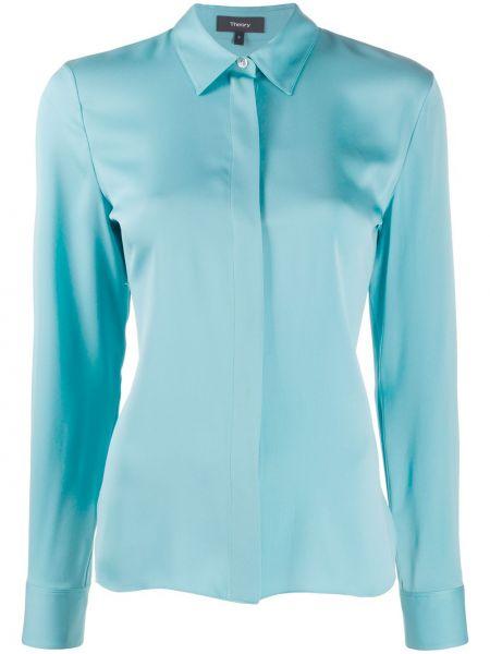 Klasyczna niebieska klasyczna koszula z długimi rękawami Theory