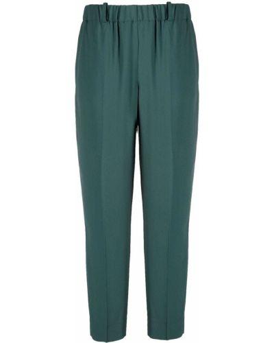 Зауженные шелковые зеленые укороченные брюки Incotex