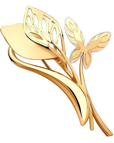 Золотистая брошь золотая с декоративной отделкой Sokolov