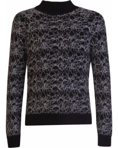 Czarny sweter z haftem z mankietami Saint Laurent