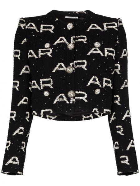 Черный пиджак твидовый с пайетками Alessandra Rich