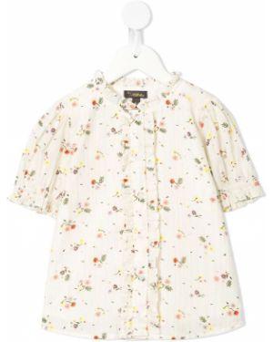 Koszula bawełniana w paski z falbanami Velveteen
