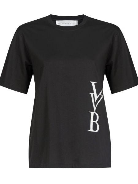 Хлопковая футболка - черная Victoria Beckham