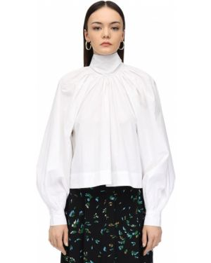Блузка с длинным рукавом с воротником-стойкой в полоску Ganni