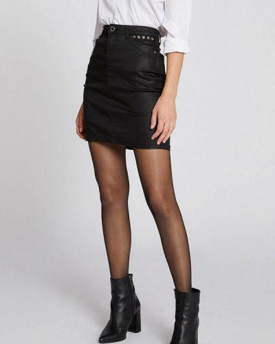 Кожаная юбка черная Morgan