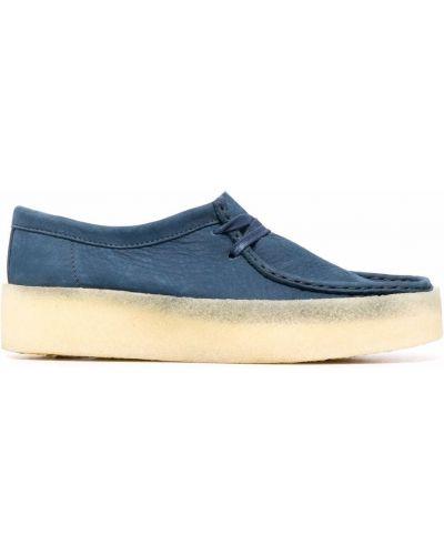 Кружевные синие лоферы на шнуровке Clarks