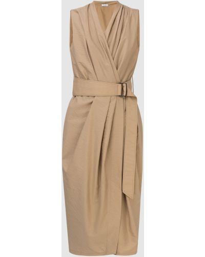 Бежевое платье миди Brunello Cucinelli