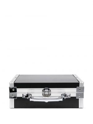 Черный портфель с карманами металлический Comme Des Garçons
