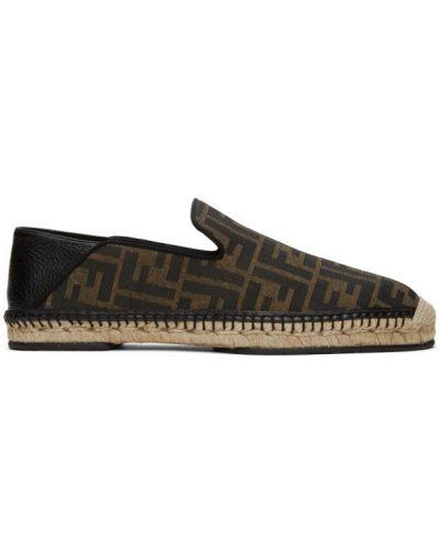 Черные кожаные эспадрильи на каблуке Fendi
