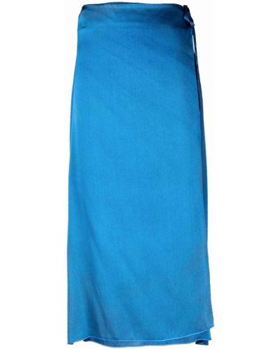 Шелковая юбка миди - синяя Avant Toi