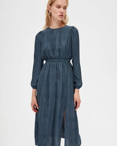 Синее прямое платье Lime