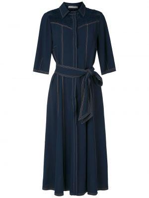 Приталенное классическое платье миди на пуговицах с воротником Martha Medeiros