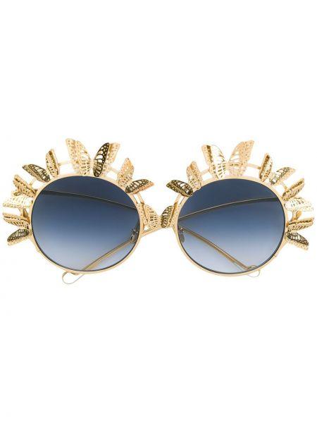 Золотистые муслиновые желтые солнцезащитные очки круглые Anna Karin Karlsson