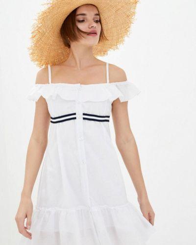 Белое платье с открытыми плечами Ora