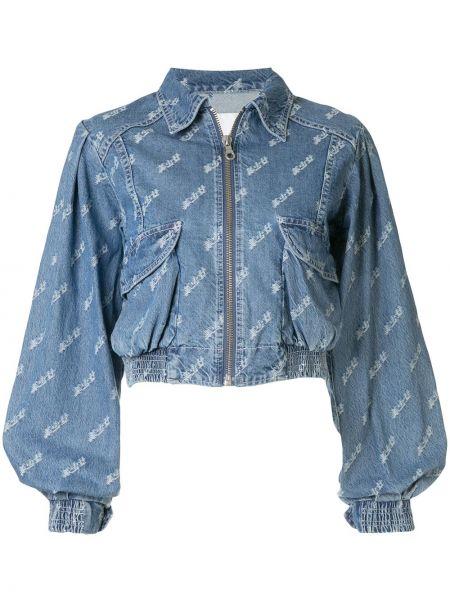 Синяя джинсовая куртка на молнии с вышивкой Ground Zero