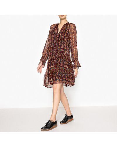 Платье мини с V-образным вырезом солнце с длинными рукавами Antik Batik