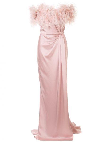 Розовое платье макси с перьями с вырезом Marchesa